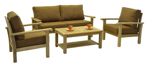 - Amazonia Teak 4-Piece Gili Teak Deep Seating Set with Sunbrella Cushions