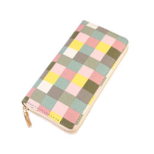 Print Large Wallet - Geometric Print Zip Around Wallet - Card Phone Slot Zipper Purse Chevron, Checker, Mandala, Camo, Stripe, American Flag (Checkered - Green)