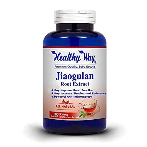 Healthy Way Pure Jiaogulan Supplement 180 Capsules - 820mg Gynostemma Pentaphyllum AMPK Activator Caffeine-Free Adaptogen Pills Southern Ginseng - NON-GMO 100% Money Back Guarantee
