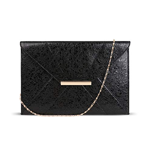 Envelope Flap Clutch - Anna Smith Envelope Clutch Purses for Women Lightweight Simple Design with Removable Chain Strap Magnet Hook Prom Party Ladies Flap Bags PU Leather Shining Evening Bag with Pocket Black