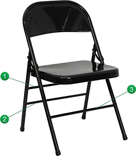 HERCULES Series Triple Braced & Quad Hinged Black Metal Folding Chair