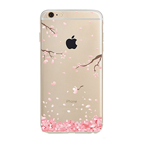 Price comparison product image iPhone 6S Plus / 6 Plus Case,  iPhone 6S Plus Clear Case,  PHEZEN Cherry Blossom Flower Series Transparent TPU Bumper Soft Silicone Rubber Skin Back Case Cover for iPhone 6 / 6S Plus 5.5 inch (Floral 3)