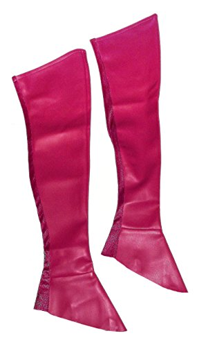 Charades Knee High Black Leather Boot Covers (Thigh High Boot Covers Halloween Costumes)