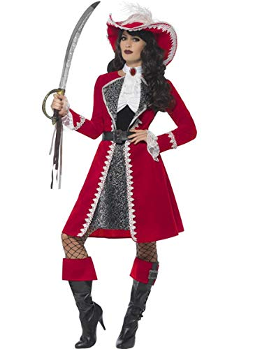 Fest Threads 5 PC Women's Pirate Lady Captain Dress & Jacket w/Accessories Party Costume Red ()