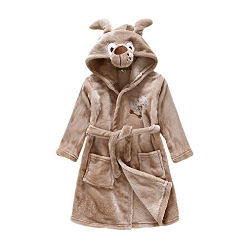 CuteOn Kids Boys Girls Flannel Bathrobe Children's Pajamas Dressing Gown Dog 130cm - X-Large (Animal Dress For Kids)