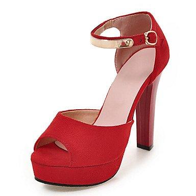 LvYuan Mujer-Tacón Robusto-D'Orsay y Dos Piezas Zapatos del club-Sandalias-Vestido Fiesta y Noche-Semicuero-Negro Rojo Red