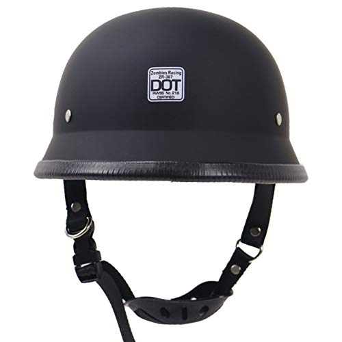 Forart Motorcycle Half Helmet Cruiser Solid Flat Black Unisex Adult Motorcycle Half Helmet