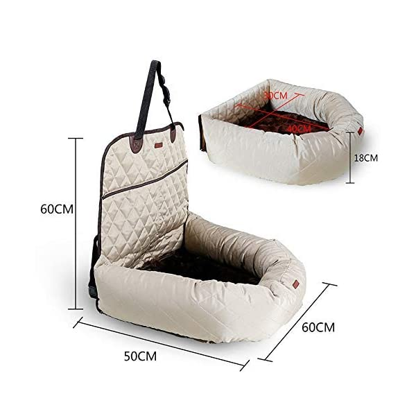 MONIKI 2in1 Dog Car Seat Bed - Waterproof & Nonslip Cat Traveling Front Booster Seats, Removable cover & Cushion 3