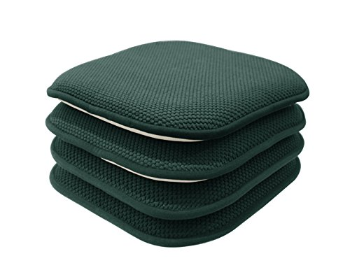 GoodGram 4 Pack Non Slip Honeycomb Premium Comfort Memory Foam Chair Pads/Cushions - Assorted Colors (Hunter Green),16 in. W x 16 in. L (41 cm x 41 cm)
