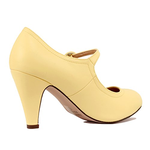 Chase & Chloe Womens Round Toe Mid Heel Mary Jane Pumps-Shoes Pumps (6 M US, Yellow PU)