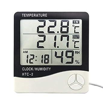 Termómetro digital higrómetro estación meteorológica temperatura medidor de humedad reloj pared interior exterior sensor sonda pantalla LCD: Amazon.es: ...