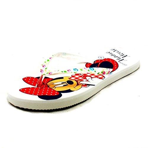 Ladies Flat Minnie Mouse Or Daisy Duck Detail Flip Flop Sandals White