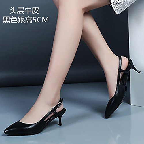 Sandalias de tacón alto de VIVIOO Sandalias de tacón alto de primavera Sandalias de tacón alto de Baotou Zapatos de tacón alto de color blanco femenino después del aire con zapatos finos Black 5cm