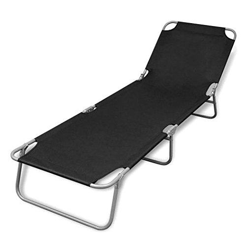Foldable Sunlounger with Adjustable Backrest Black Home Outdoor SKB Family by SKB family