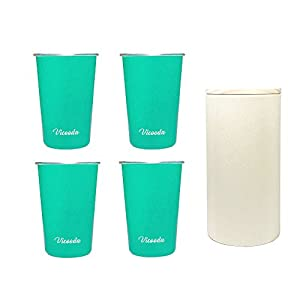 Stainless Steel Cups (Pack 4) by Vicooda - 16 oz 473ml Pint Glasses Perfect for Everyday Use (Cyan Green)