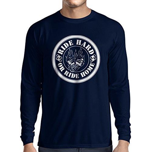 N4688L Camiseta de manga larga Ride Hard! Biker clothing Azul Multicolor