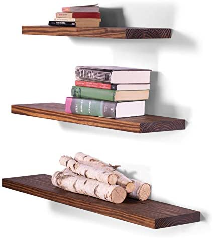 DAKODA LOVE Clean Edge Floating Shelves USA Handmade Wall Mounted Hidden Single Bar Floating Shelf Bracket Modern Rustic Pine Wood Set of 3 Bourbon, 36 , 30 , 24 L x 8 D