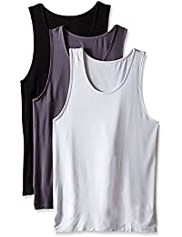Men's 3 Pack Bamboo Rayon & Micro Modal & Cotton Undershirts Crew Neck Tank Tops
