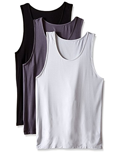 David Archy Men's 3 Pack Bamboo Rayon Undershirts Crew Neck Tank Tops(Black/Charcoal/Light Gray,L)