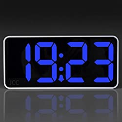 JCC Easy to Read 8.9 Jumbo LED Display Digital Desk Alarm Clock with Snooze, Dimmer and Adjustable Alarm Volume Function, USB Ports for Smartphone and Tablets Charging (Blue)