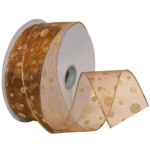 Morex Ribbon Glitter Dots Wired Sheer Glitter Ribbon, 2-1/2-Inch by 50-Yard Spool, Bronze/Gold