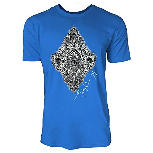 SINUS ART ® Schönes Hippie Ornament Herren T-Shirts in Blau Fun Shirt mit tollen Aufdruck