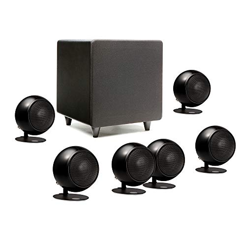 """Orb Audio: Mod1 Mini 5.1 Plus Home Theater Speaker System – Surround Sound System – Includes 6 Orbs and 9"""" Subwoofer – Dialogue Enhancing Center Channel – Handmade in the US"""