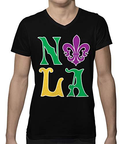 SpiritForged Apparel NOLA New Orleans Louisiana Men's V-Neck T-Shirt, Black 2XL