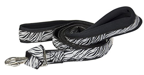 Black Zebra Snap - cuteNfuzzy Padded Double Handle Overlay Leash with Snap Design-Warranted, Zebra Black/White, 1