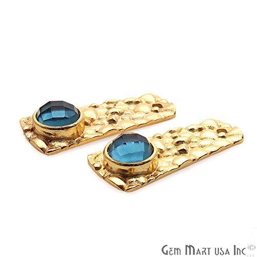 GemMartUSA Dark Blue Topaz Earrings, 29x13mm, Gemstone 22k Gold Plated Bezel Earrings (GPBT-90031) ()