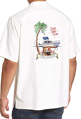 Tommy Bahama Embroidered Christmas Jingle Bell Dock Silk Camp Shirt (Color: Continental, Size XXL)