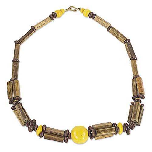 NOVICA Brass and Bamboo Beaded Necklace, 18.5