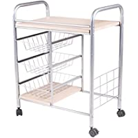 Handi-Craft Kitchen Cart with 3 Basket Drawers and Wheels
