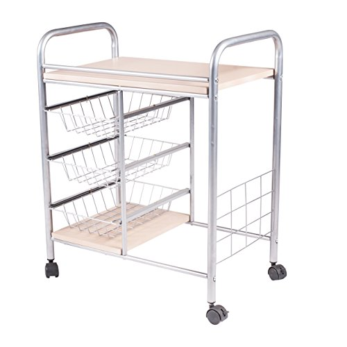 Handi-Craft Kitchen Cart with 3 Basket Drawers and Wheels by Handi-Craft