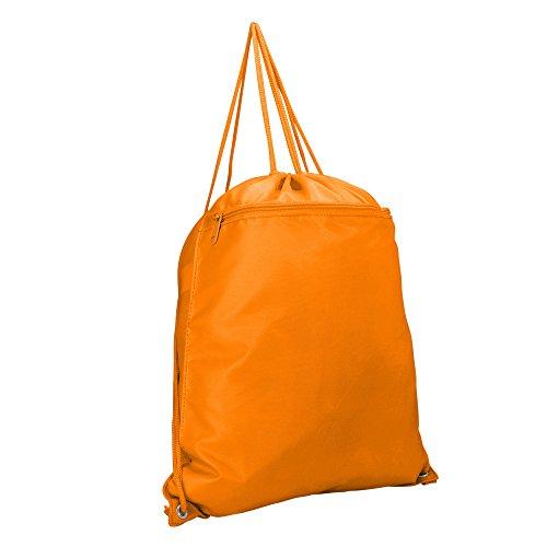 DALIX Drawstring Backpack Sack Bag (Red, Blue, Black, Yellow, Pink, Navy) (Orange)