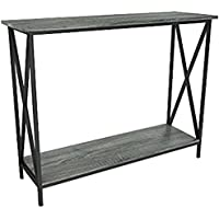 Weathered Grey Oak Finish 3-Tier Metal X-Design Occasional Console Sofa Table Bookshelf