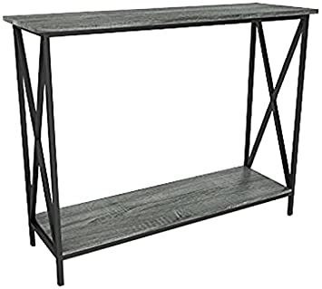 Enjoyable Weathered Grey Oak Finish 3 Tier Metal X Design Occasional Console Sofa Table Bookshelf Machost Co Dining Chair Design Ideas Machostcouk