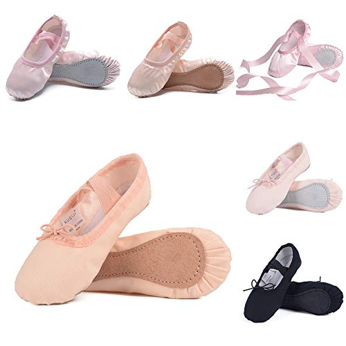 Ruqiji Ballet Shoes for Girls/Toddlers/Kids/Women, Canvas Ballet Shoes/Ballet Slippers/Dance Shoes, Full Sole, Ballet Pink (Pink Leather)