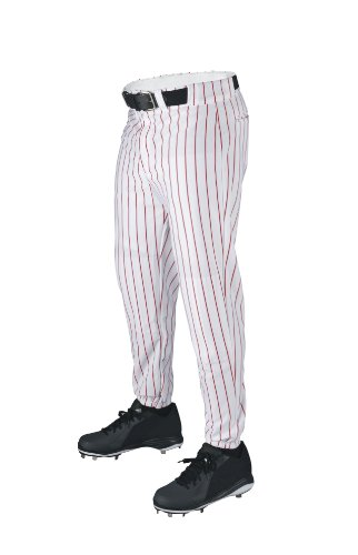 Wilson Sporting Goods Youth Deluxe Poly Warp Knit Pinstripe Baseball Pant, X-Large, White with Scarlet Striped Baseball Pant