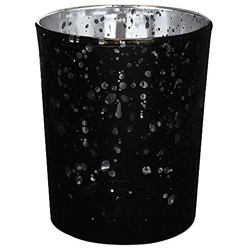 Just Artifacts Mercury Glass Votive Candle Holder 2.75-Inch (12pcs, Speckled Black) -Mercury Glass Votive Tealight Candle Holders for Weddings, Parties and Home Décor