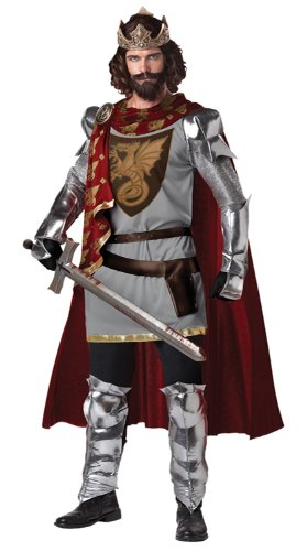 California Halloween Costumes (California Costumes Men's King Arthur Adult, Silver/Red, Large)