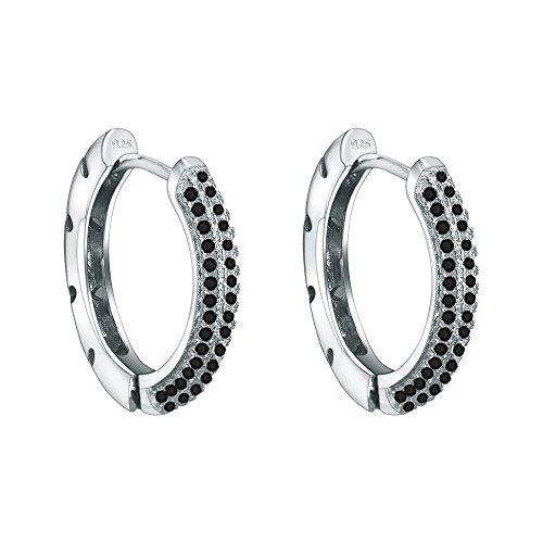 AoedeJ Hood Stud Earrings 925 Sterling Silver with Black Cubic Zirconia Huggies Hoop Piercings (Black) (Earrings Black Diamond Studded)