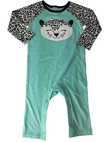 Infant Girls Aqua Black & White Leopard Cheetah Animal Print Outfit 1 Piece Set