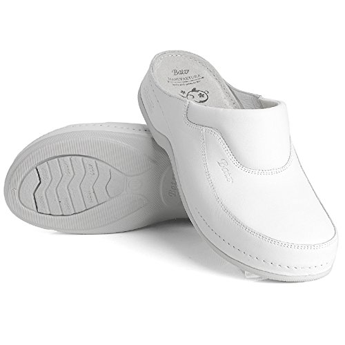 White Handmade Mules Slip Clogs Leather on Ladies Fc04 Womens Batz zOqTPHn