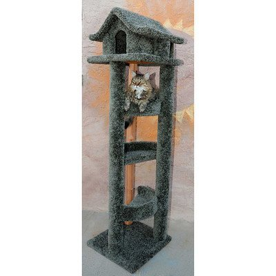 New Cat Condos Premier 6' Pagoda Cat House, Gray