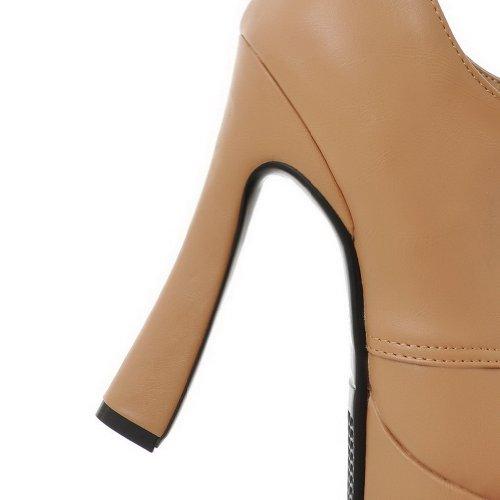 AllhqFashion Mujer Cordón PU Material Suaves Tacón Alto Puntera Redonda Botas Albaricoque