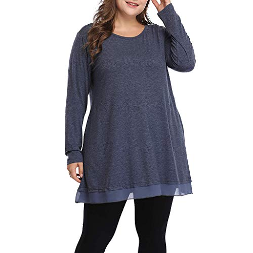 Basic Tees for Women, Women Plus Size Casual Shirt Graceful Lace Tunic Long Loose Fit Top (Navy, XXXXL)