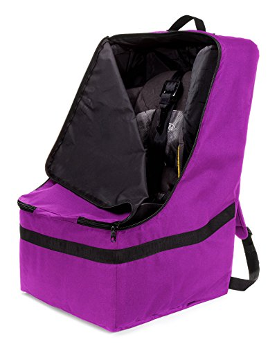 ZOHZO Car Seat Travel Bag — Adjustable, Padded Backpack for Car Seats — Car Seat Travel Tote — Save Money, Make Traveling Easier — Compatible with Most Name Brand Car Seats (Purple with Black Trim) by Zohzo (Image #1)