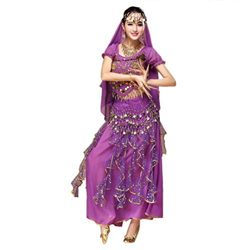 [Lady Belly Dance Outfit Mokao India Dance Show Performance Clothes Dresses Jingle Halloween Carnival Masquerade Costume] (Halloween Outfits Ladies)