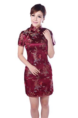 YueLian Women's Chinese Short Cheongsam Qipao Dress Dark Red (China M= US 4) by YueLian